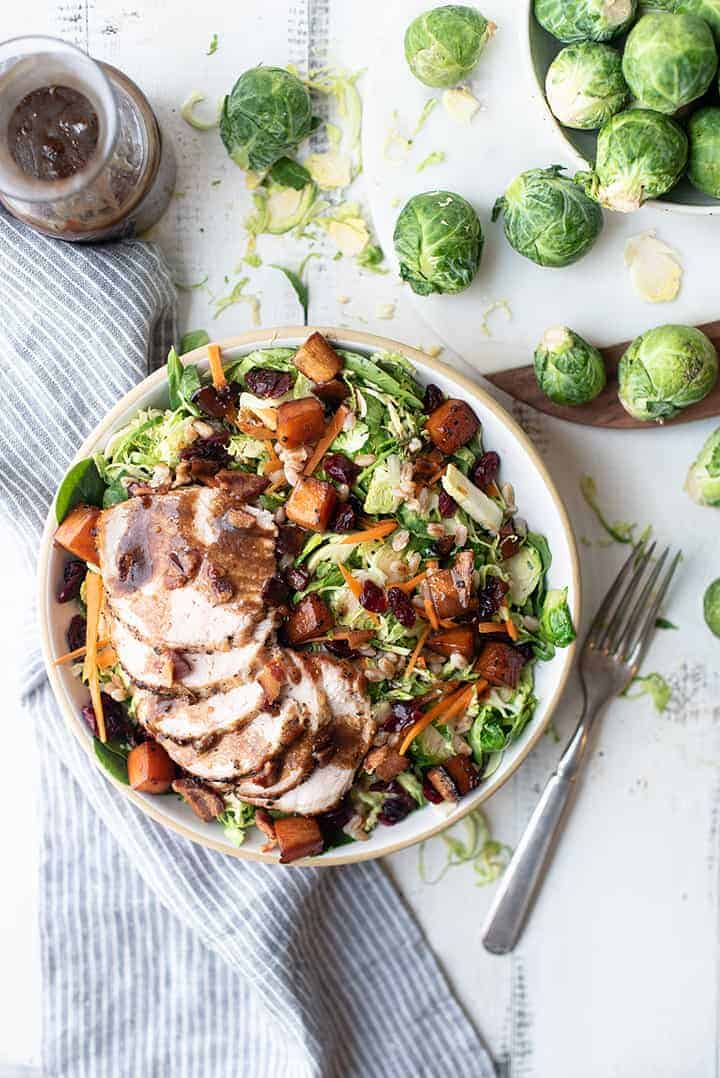 Harvest Brussels Sprouts Bowl with Pork Tenderloin | superman cooks