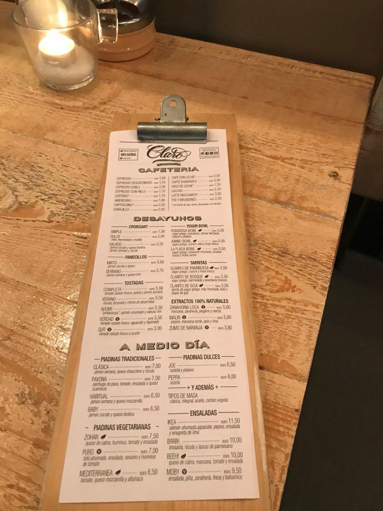 Restaurant Claro Palma: Speisekarte