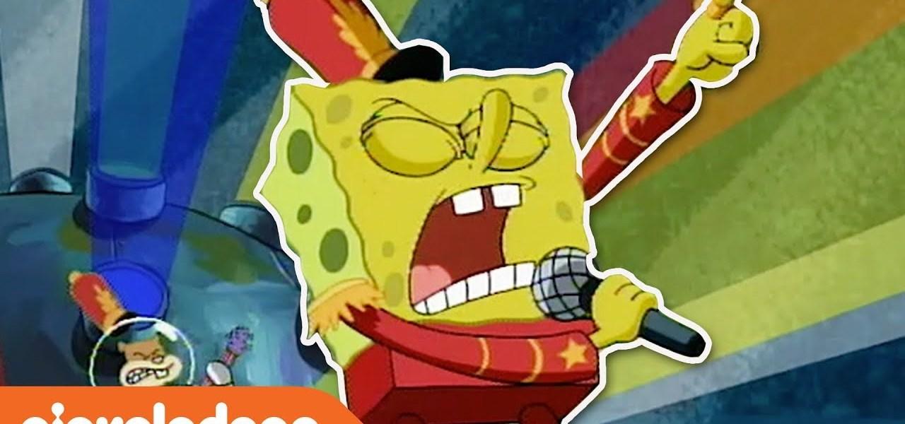 SpongeBob performing Sweet Victory