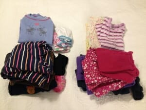 For my next trip with the girls, Kimmie will be wearing navy and brown, and Essie will be in hot pink and purple. The extra set of PJs I packed for each of them (something we still need to do in case of midnight accidents or upset tummies) will double as long underwear for outside play in below-freezing temps.