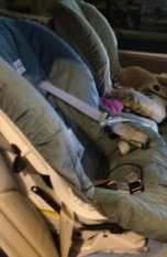 Our old toddler carseats: neither fun to haul, nor fun to install