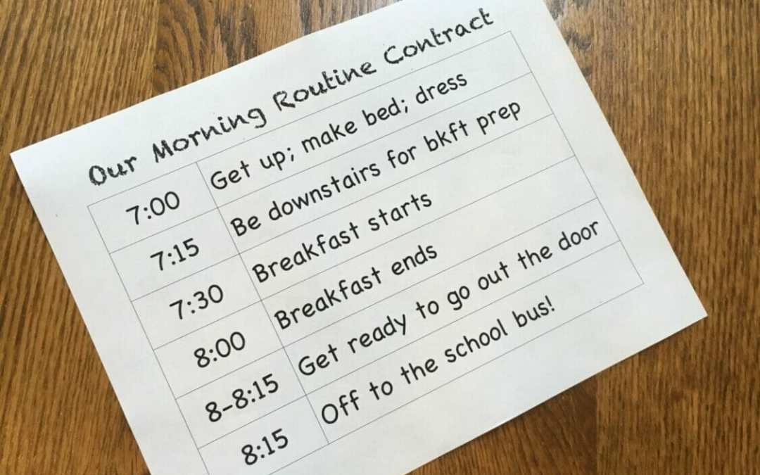 "The ""Pizza Cow"" Morning Routine Contract"