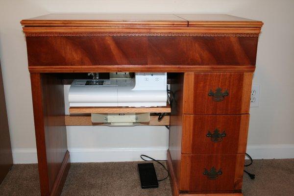 Refinished vintage sewing machine cabinet  Super Mom  No