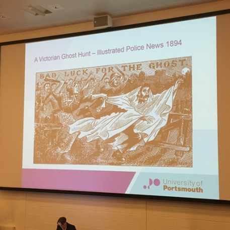 An illustration of a Victorian Ghost Hunt on a slide from Dr Karl Bell's talk during the Dark Portsmouth event at DarkFest 2017