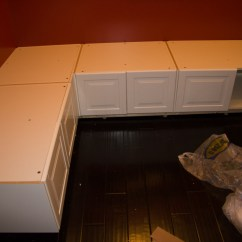 Ikea Kitchen Upper Cabinets Tile Floors In Part 4 Of A Tutorial On Building Diy Banquette Seating