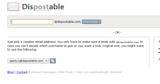 dispostable instant email box