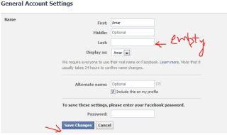 remove last name in Facebook