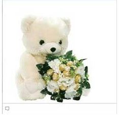 facebook chat emoticon Teddy bear with a flower bouquet