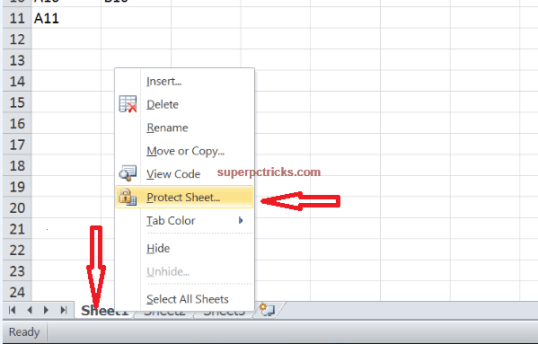 how to protect a worksheet in excel