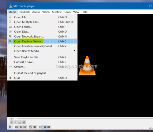 Record Screen using VLC Media Player