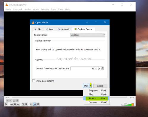 vlc stream desktop with audio
