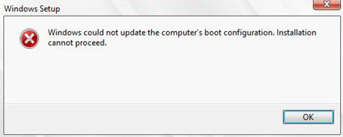 Windows could not update the computer's boot configuration