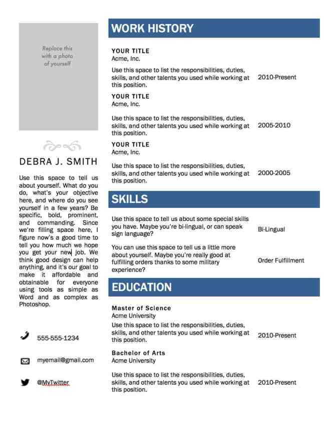 Free Fillable Resume Templates - Resume Sample