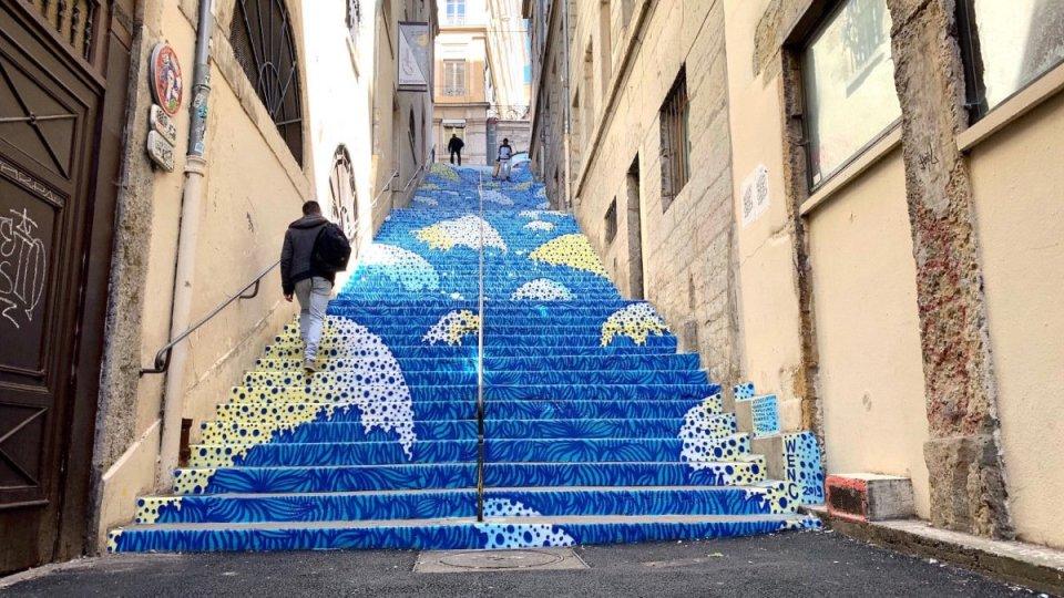 Escaliers Mermet par Wenc à Croix Rousse