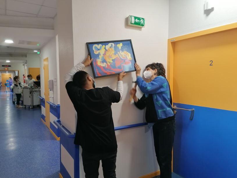 Installation des oeuvres_Hôpital de la Croix-Rousse
