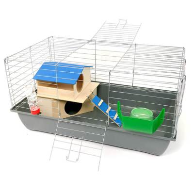 Klatka dla królika lub świnki morskiej 80cm zdomkiem piętrowym