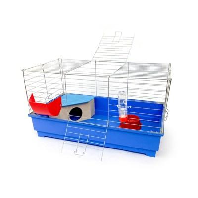 Klatka dla królika 80 cm zdomkiem błękitna
