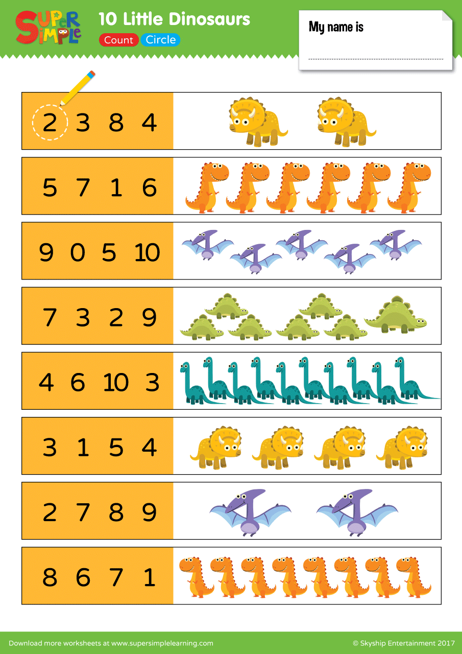 medium resolution of 10 Little Dinosaurs Worksheet - Count \u0026 Circle - Super Simple