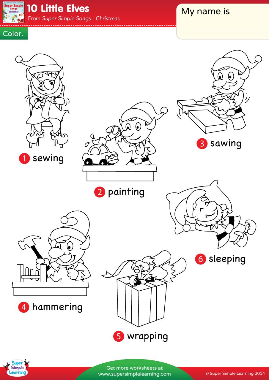 10 Little Elves Worksheet