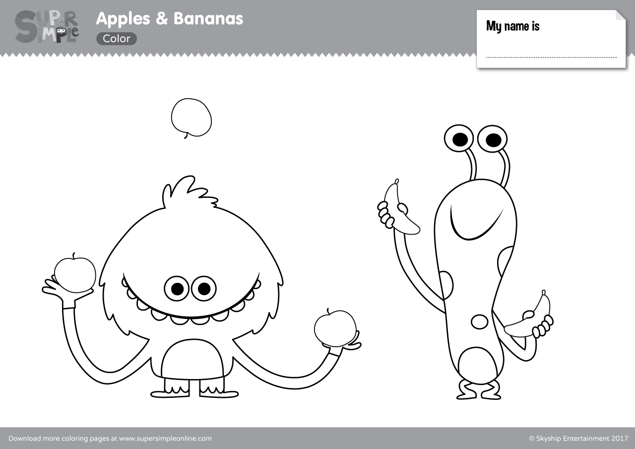 Apples Amp Bananas Coloring Pages