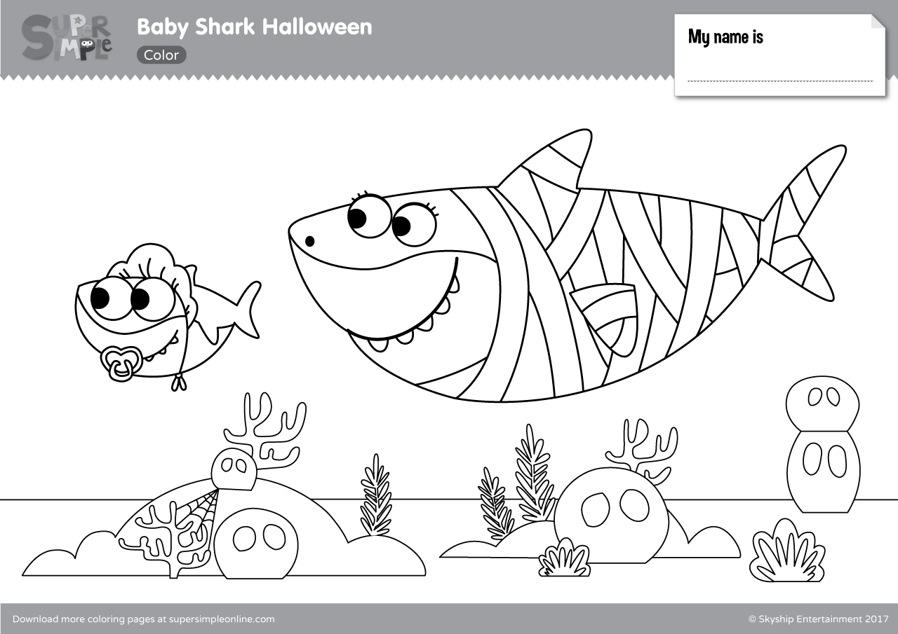 Baby Shark Halloween Coloring Pages