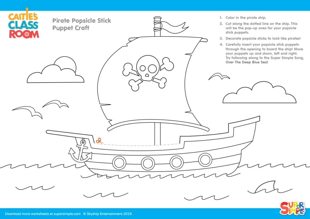 Pirate Popsicle Stick Puppet Craft Coloring Page Super Simple