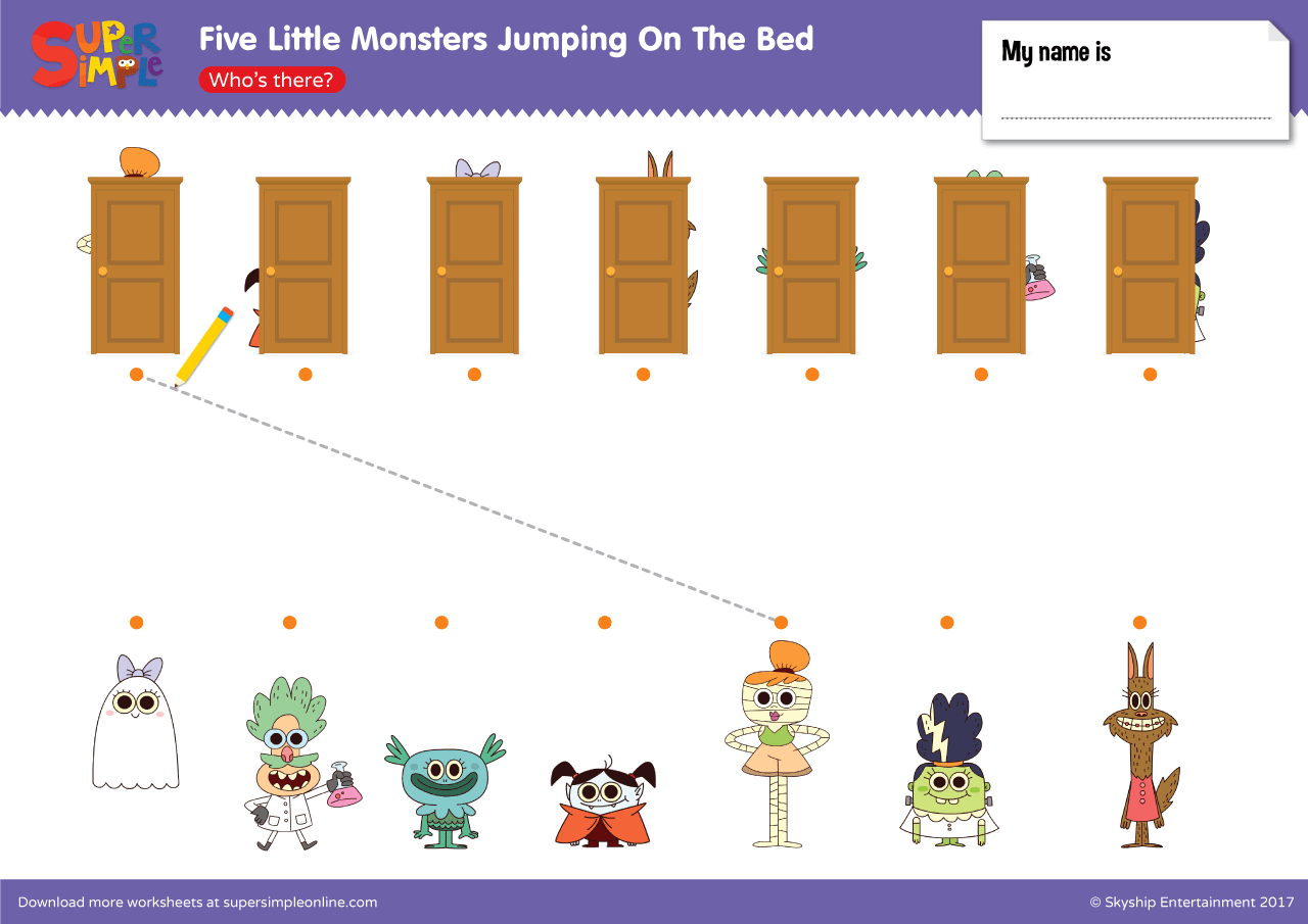 Five Little Monsters Jumping On The Bed