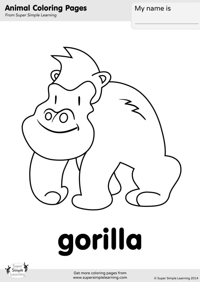 Gorilla Coloring Page - Super Simple