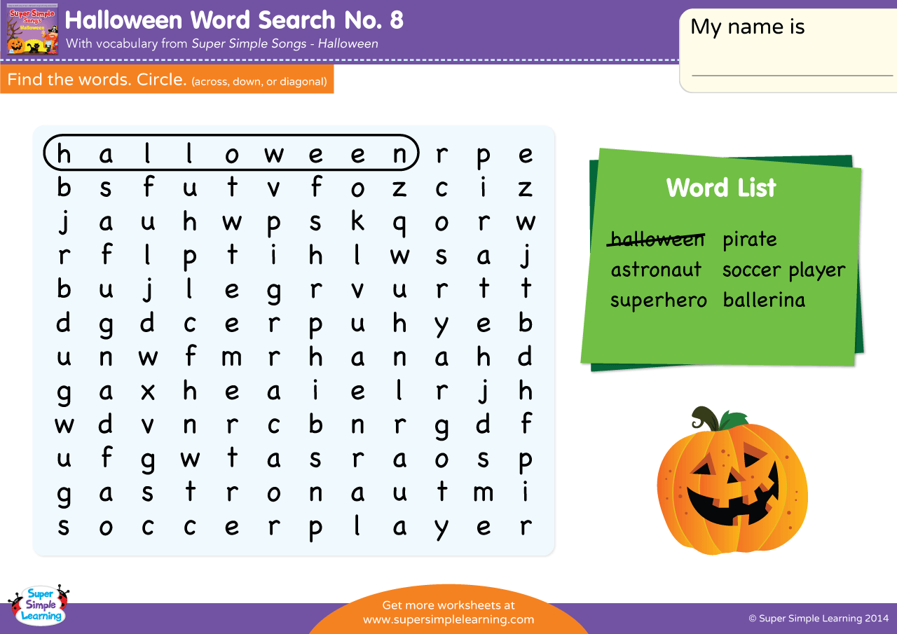 Halloween Word Search 8