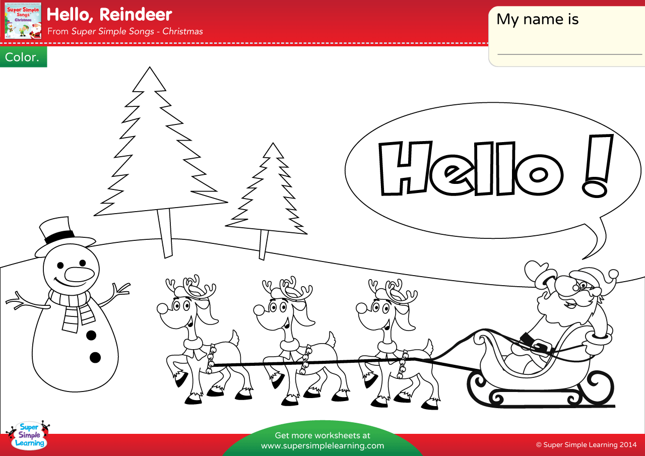 Hello Reindeer Worksheet