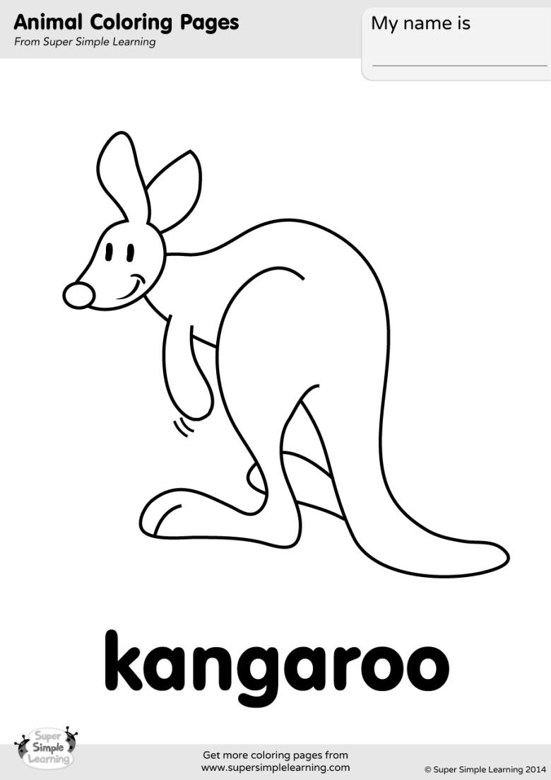 kangaroo coloring page - super simple