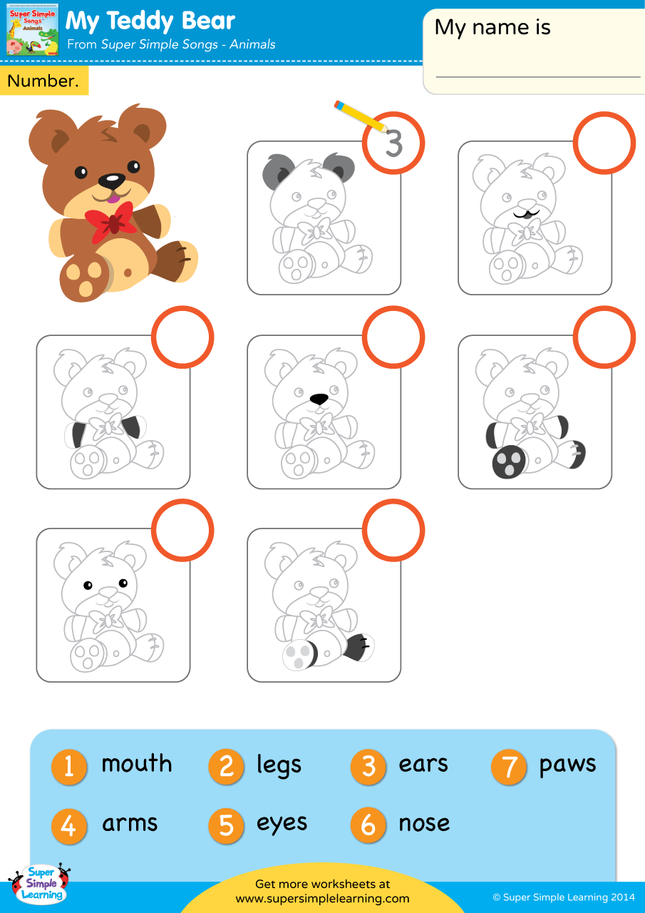 hight resolution of My Teddy Bear Worksheet - Write The Number - Super Simple