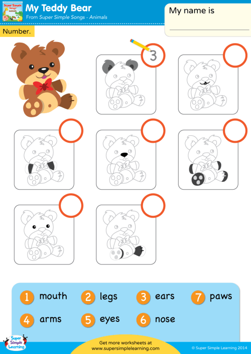 small resolution of My Teddy Bear Worksheet - Write The Number - Super Simple