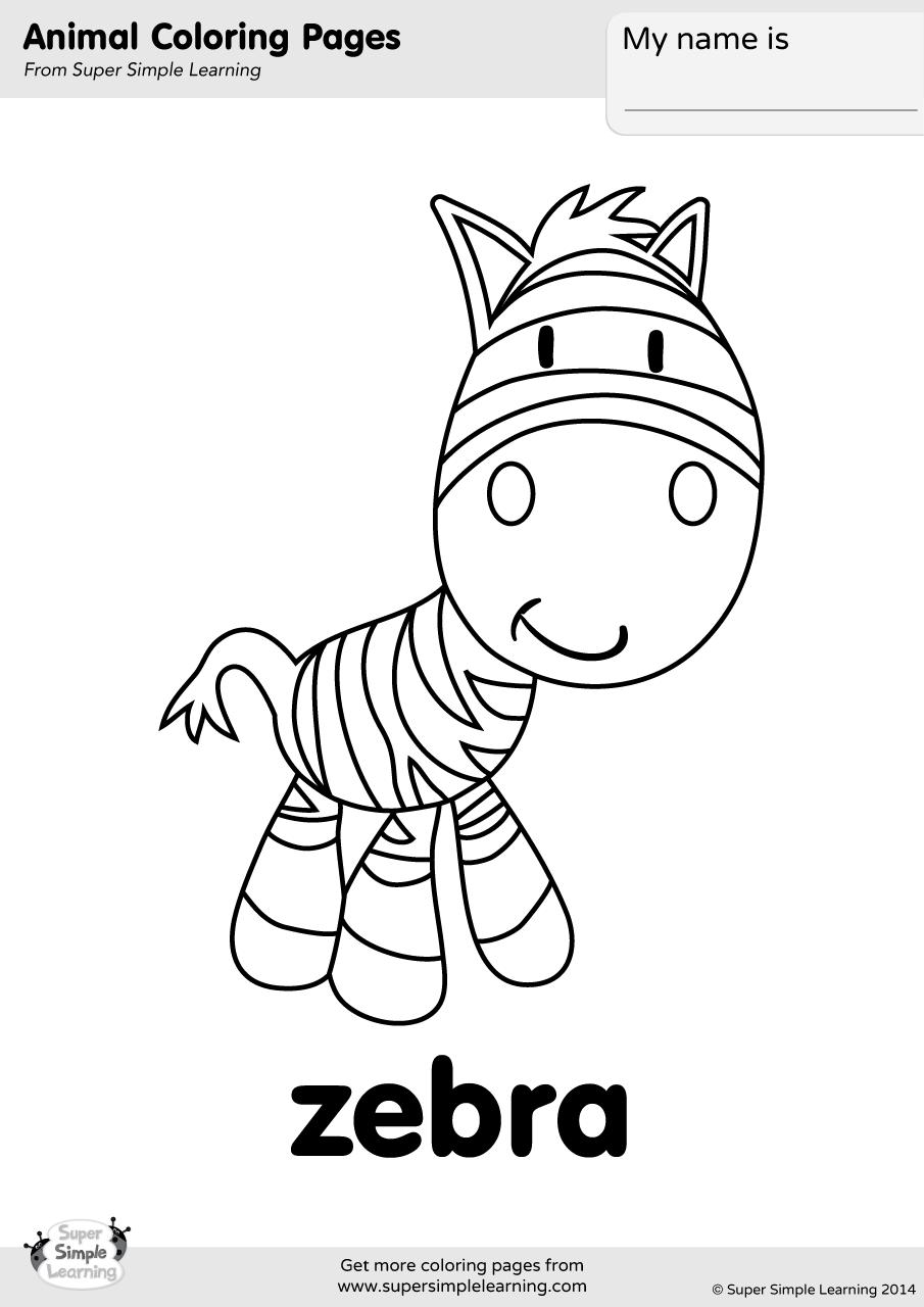 Zebra Coloring Sheet : zebra, coloring, sheet, Zebra, Coloring, Super, Simple