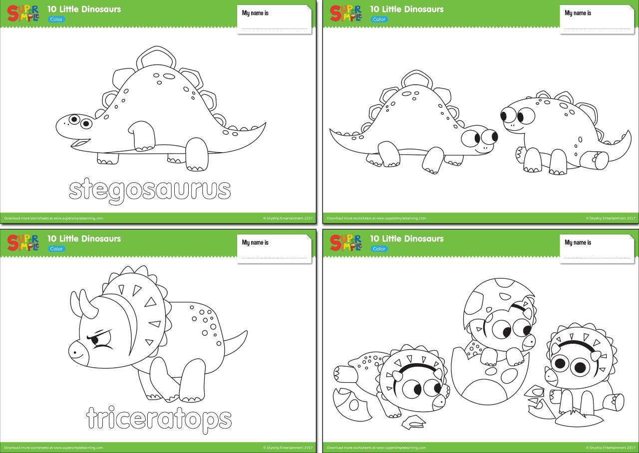 10 Little Dinosaurs Worksheets Color