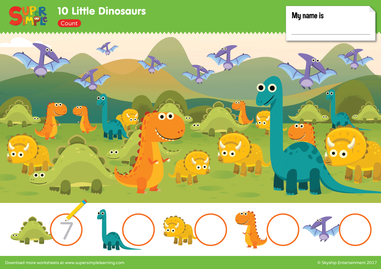 10 Little Dinosaurs Worksheet Count