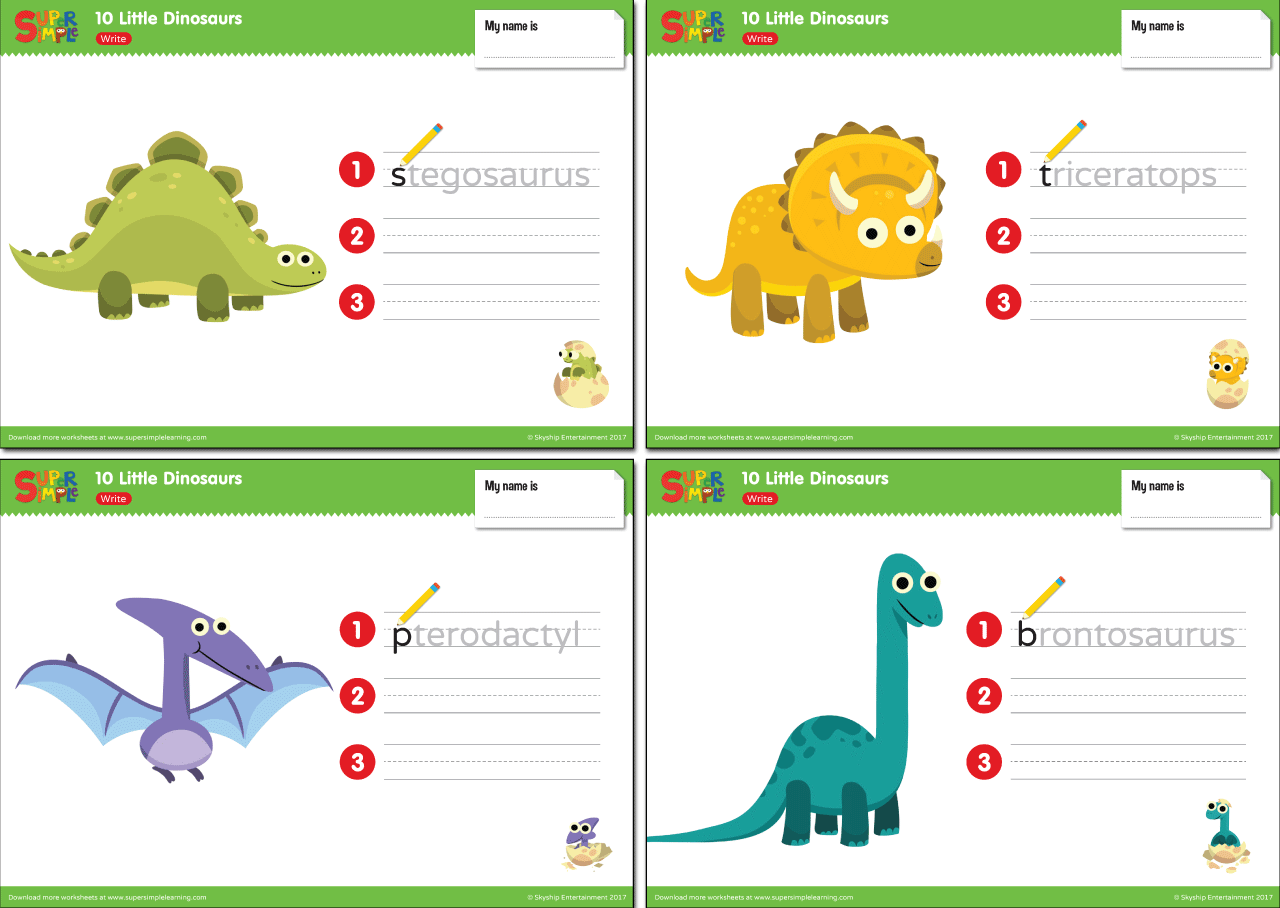 10 Little Dinosaurs Worksheets Write
