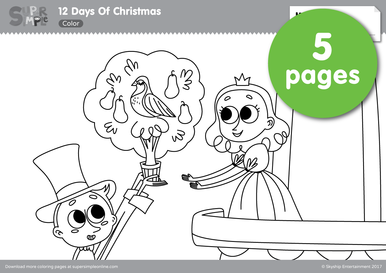 12 Days Of Christmas Coloring Pages Free