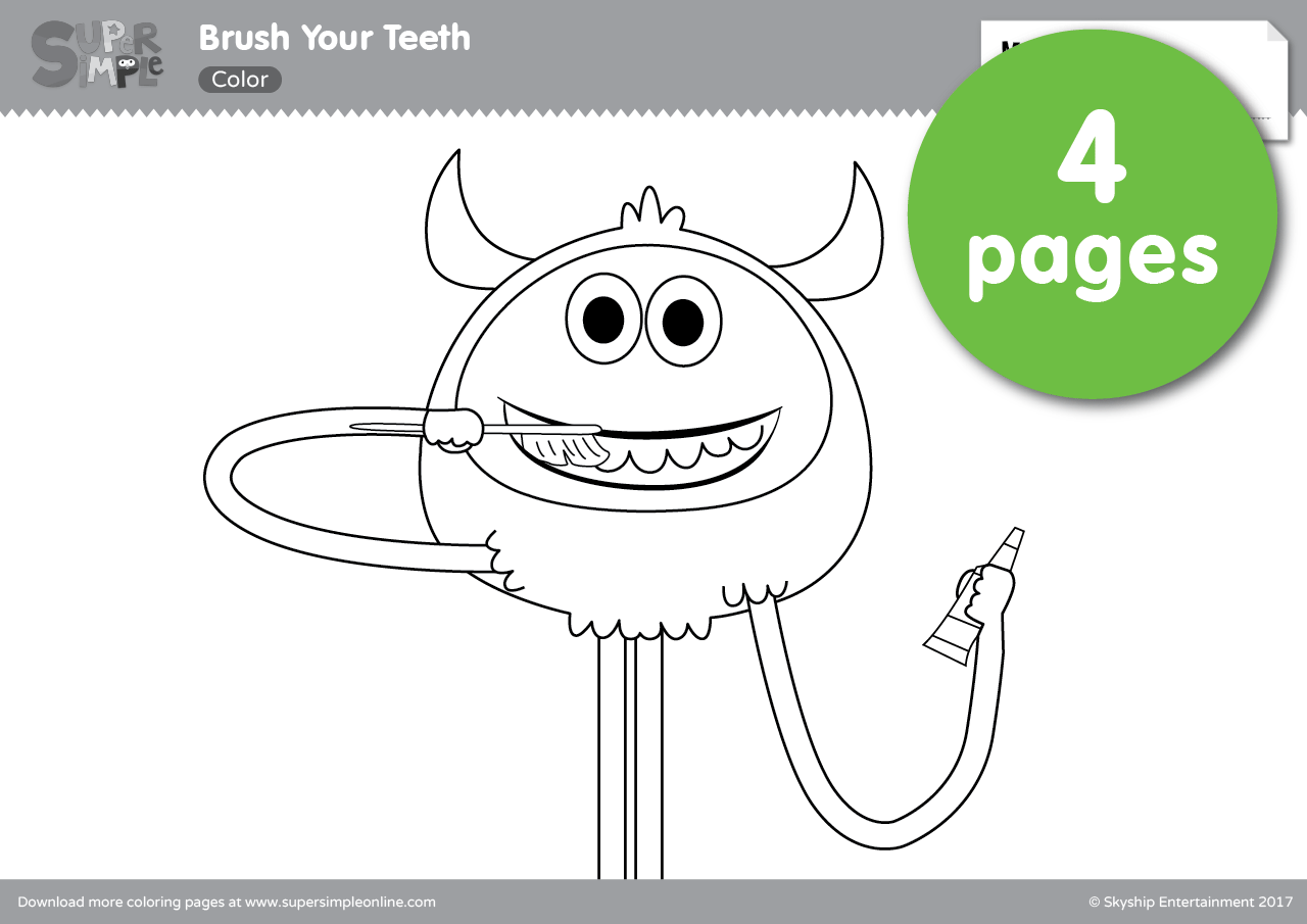 Brush Your Teeth Coloring Pages