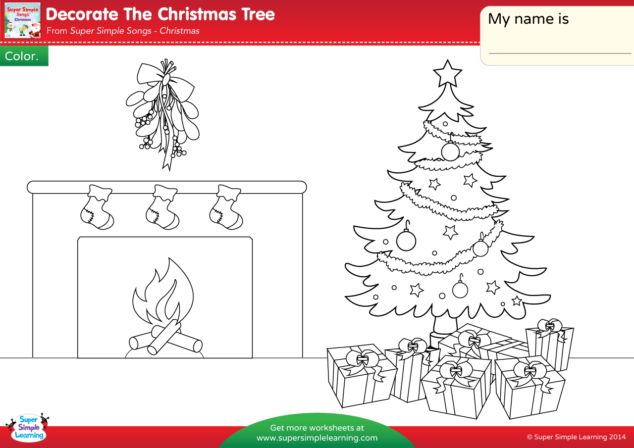 Decorate The Christmas Tree Worksheet Color