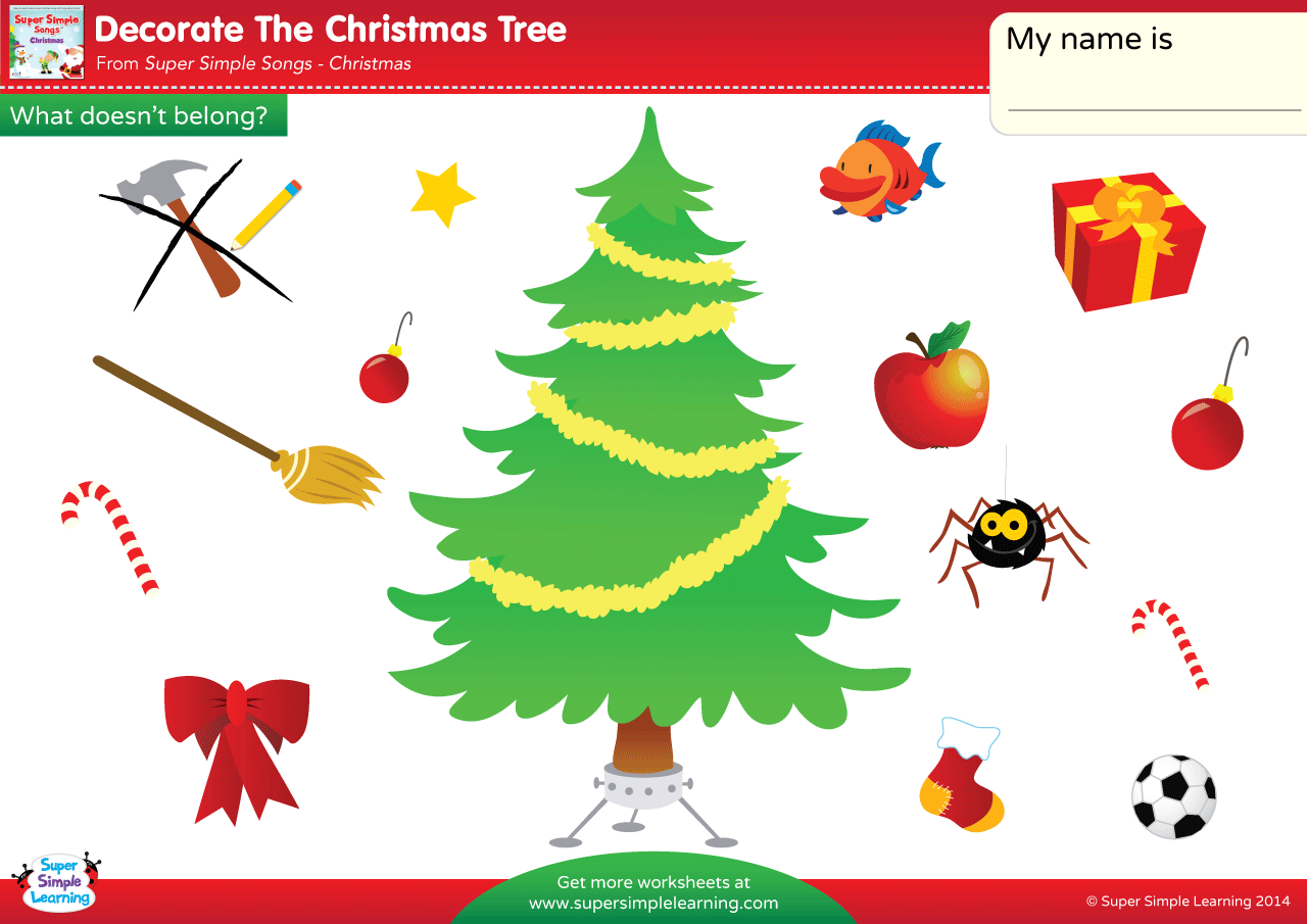 Decorate The Christmas Tree Worksheet What Doesn T Belong