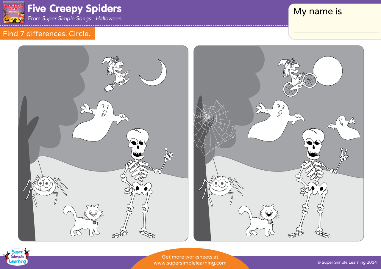 Five Creepy Spiders Worksheet Find The Differences