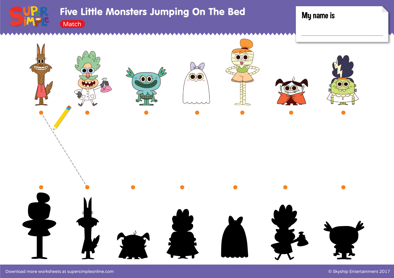 Five Little Monsters Jumping On The Bed Match