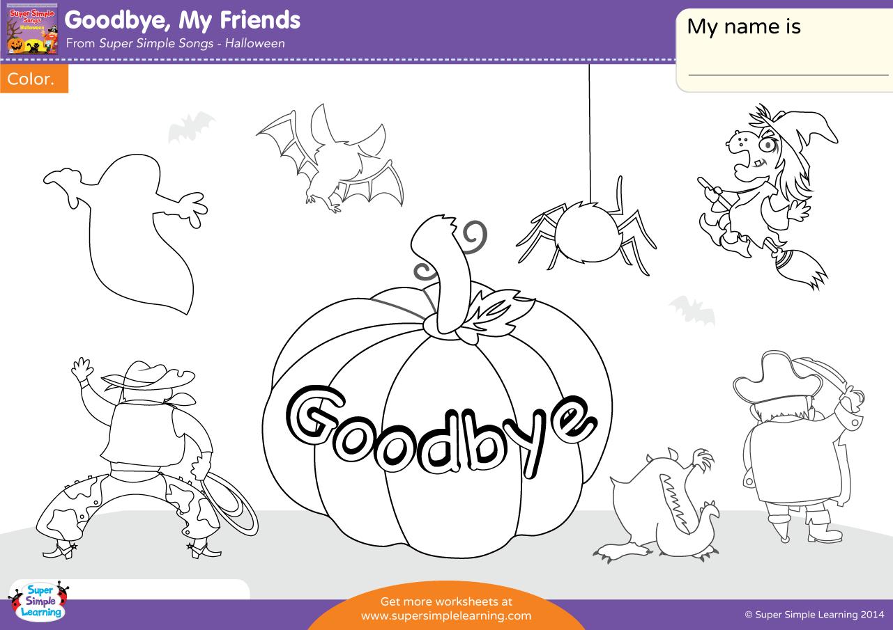 Goodbye My Friends Worksheet Color