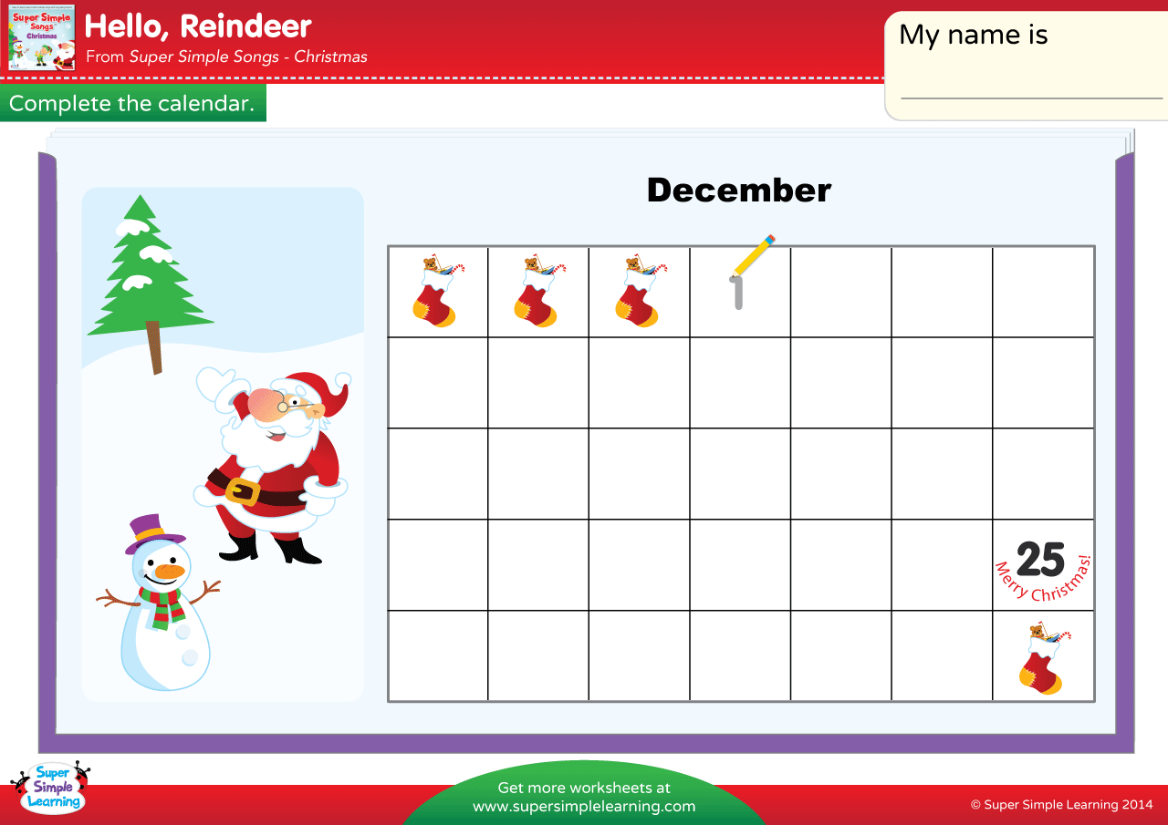 Hello Reindeer Worksheet Complete The Calendar 2