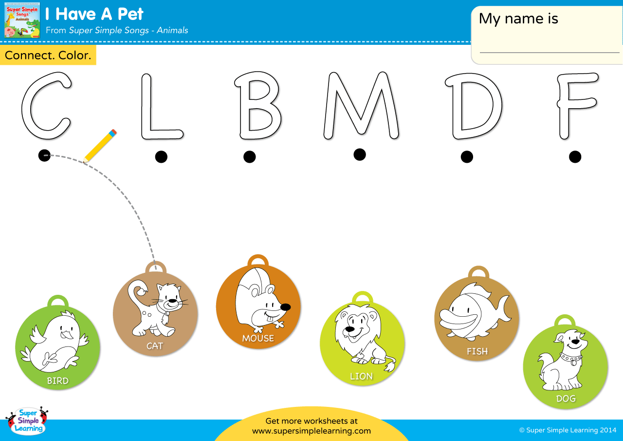 I Have A Pet Worksheet Uppercase Letter Matching