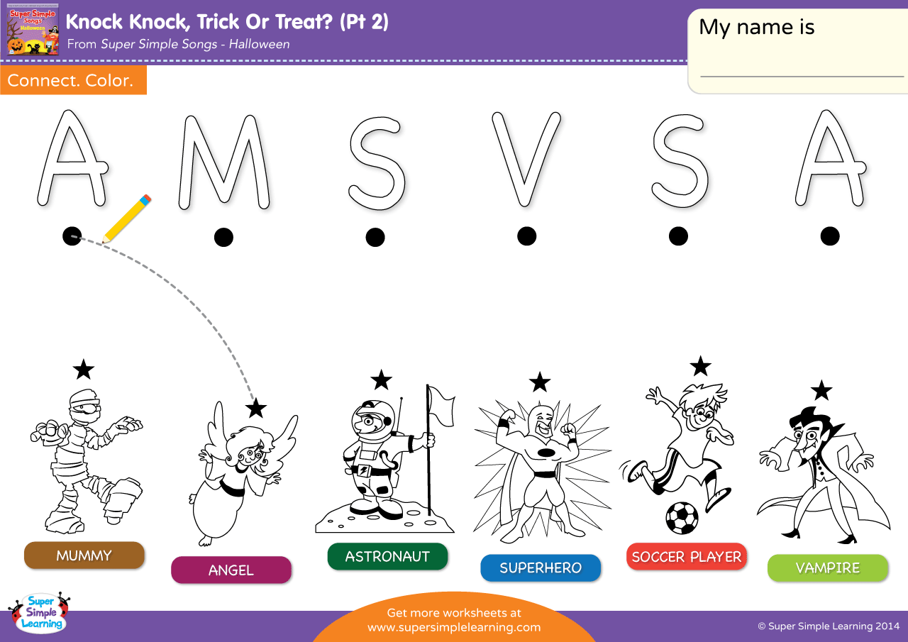 Knock Knock Trick Or Treat Part 2 Worksheet Uppercase Letter Matching