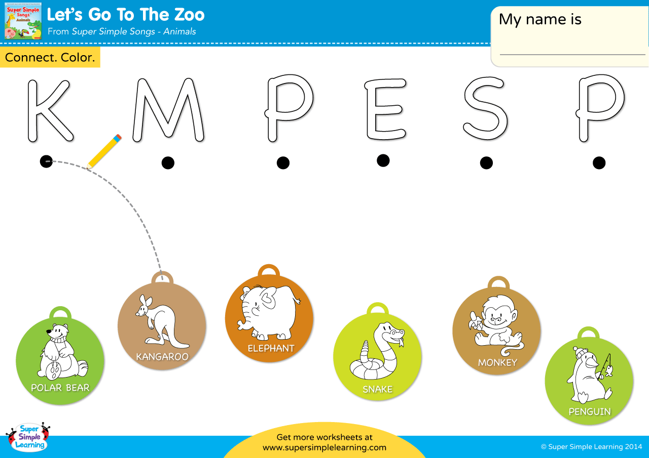 Let S Go To The Zoo Worksheet Uppercase Letter Matching