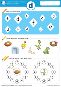 Letter Recognition Amp Phonics Worksheet D Lowercase