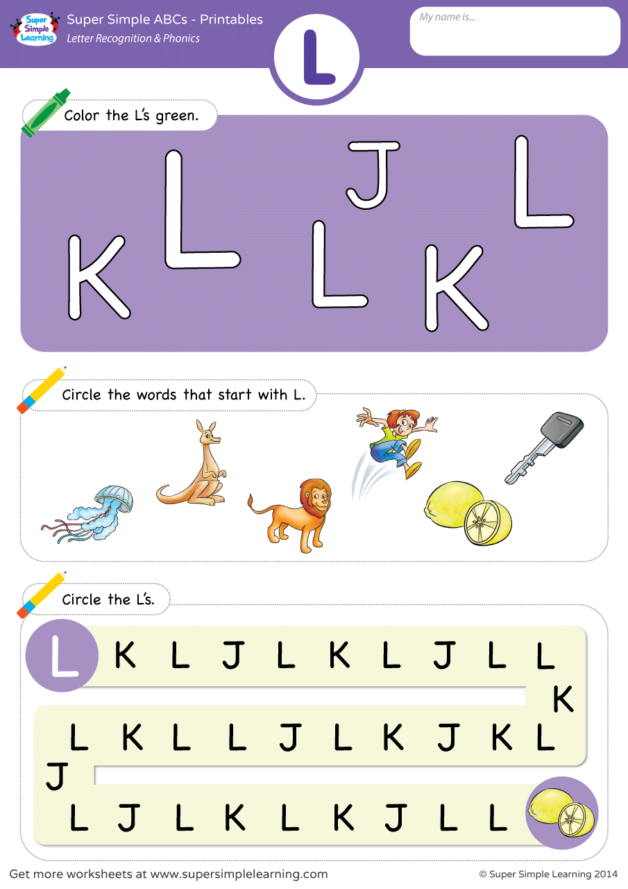 Letter Recognition Amp Phonics Worksheet L Uppercase